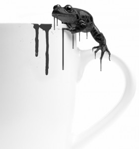 frog on coffee cup
