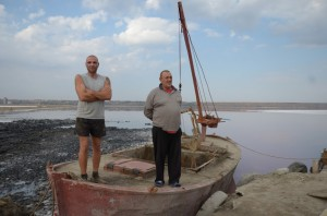 The boat crew that gathers medicinal mud  for Kuyalnik Sanitarium has been left stranded. Photo: Dimiter Kenarov