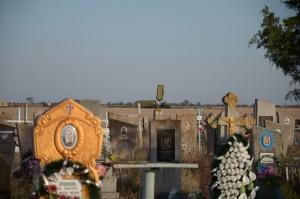 Askania Nova's cemetery, with an air defense  radar of the Ukrainian army in the background. Photo by: Dimiter Kenarov