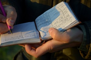 Alexandr Mezinov's notepad, where he records sightings of birds. Photo by: Dimiter Kenarov