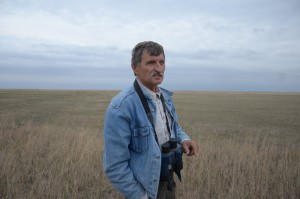 Viktor Gavrilenko, the director of Askania-Nova,  walking around the steppe. Photo by: Dimiter Kenarov